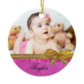 Pink Ribbon & Bow Baby Photo Ornament Keepsake