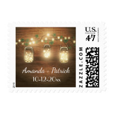 Country Rustic Lights Mason Jar Wedding Stamps