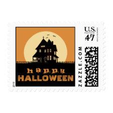 Happy Halloween Orange & Black Haunted House Stamp