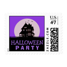 Halloween Party - Purple & Black Haunted House Stamp