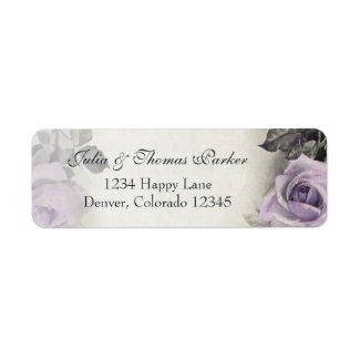 Sterling Silver Rose Wedding Return Address Label
