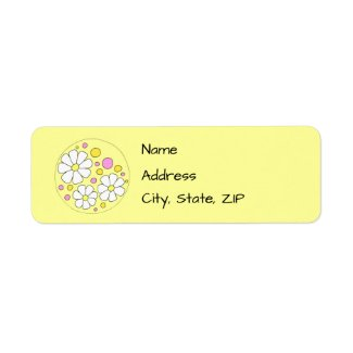 Retro Daisy Flowers Label