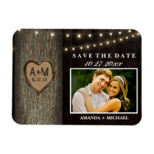 Carved Initials Old Oak Tree Wedding Save The Date Rectangular Photo Magnets