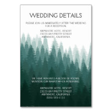 Rustic Evergreen Pine Tree Reception + Hotel Cards