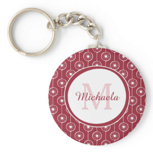 Stylish Red and White Hearts Monogram With Name Keychain