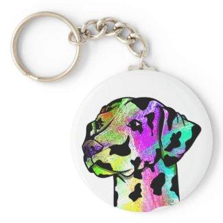 Dalmatian Dog Head Keychain