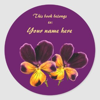Yellow Purple Pansy Flower Floral Bookplate Classic Round Sticker