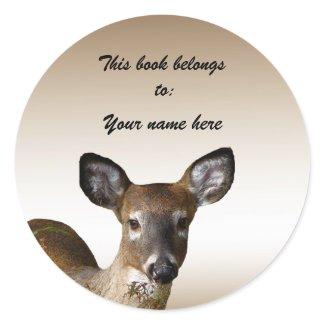 Deer Bookplate Classic Round Sticker
