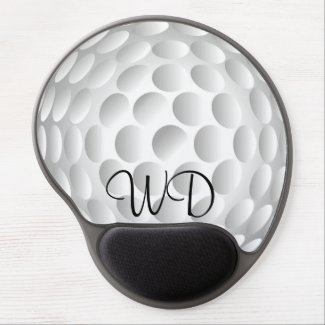 Golf ball personalized monogram gel mouse pad