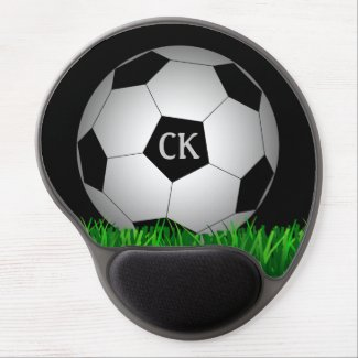 Soccer ball personalized monogram gel mouse pad