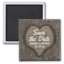 Country Rustic Carved Oak Tree Save The Date 2 Inch Square Magnet