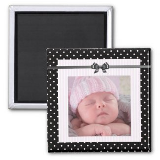 Personalize this cute Pink and Black Magnet