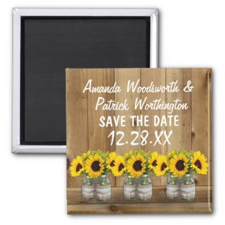Sunflower Mason Jar Burlap and Lace Save the Date Magnets