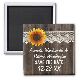 Rustic Sunflower Barn Wood and Lace Save the Magnets