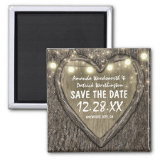 Country Rustic Carved Oak Tree Save the Date Magnet