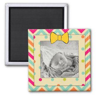Colorful Chevron and Stripes Personalized Magnet