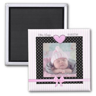 Birth Announcement Pink Baby Girl Magnet