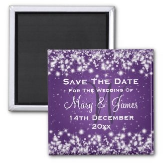 Wedding Save The Date Winter Sparkle Purple 2 Inch Square Magnet