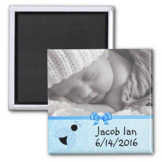Cute Blue Ladybug Baby Photo Magnet
