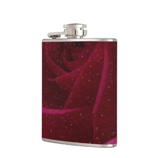 A Burgundy Rose in Snow Flask