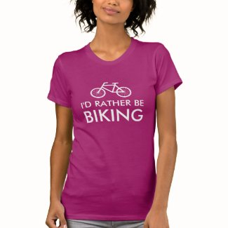 Pink bicycle t shirt for women | rather be biking