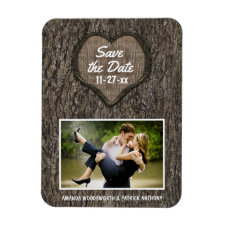 Country Rustic Carved Oak Tree Save The Date Photo Magnets