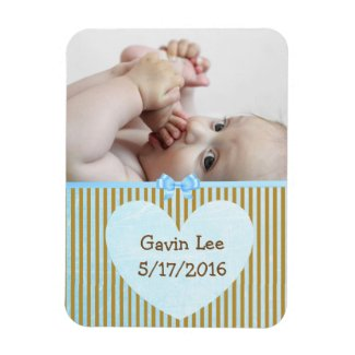 Personalized Baby Photo Magnet Brown & Blue Stripe