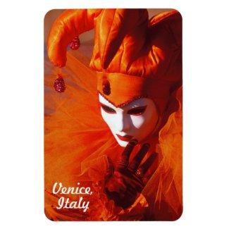 Customized Harlequin in Orange and White Mask Rectangular Photo Magnet