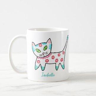 Cute White Kitty And Name Coffee Mug
