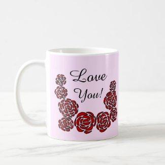 Stylish Border of Red Roses Customized Love You Coffee Mug