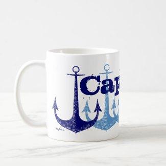 Blue anchor Captain Nautical personalized Ringer Mug