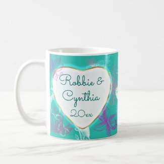 Romantic Tropical Flower Heart Personalized Coffee Mug