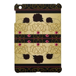 Black Gold Ornate Roses Goth CricketDiane iPad Mini Covers