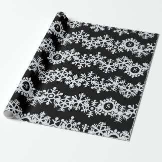 Personalized Snowflake Monogram Black Wrapping Wrapping Paper
