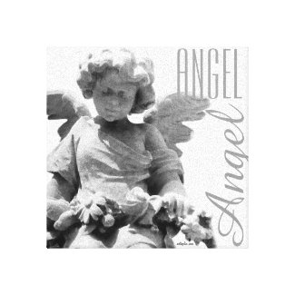 Guardian Angel black and white monogram Canvas Print