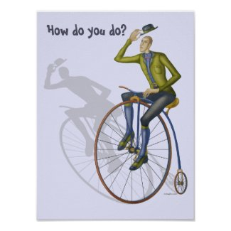 "Vintage bicycle Hello ""How do you do"" greeting Poster"