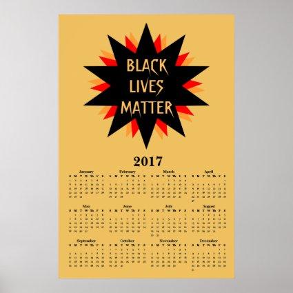 Black Lives Matter 2017 Yellow Calendar Poster