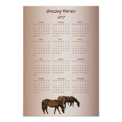 Grazing Brown Horses 2017 Animal Calendar Poster
