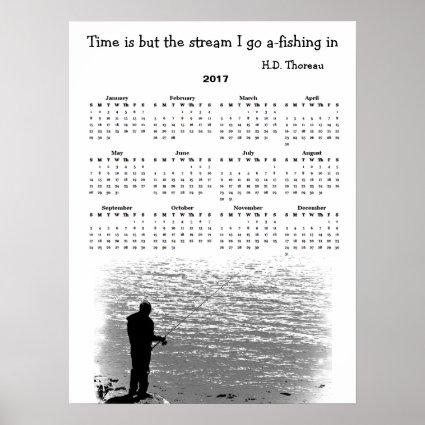 Thoreau Time Fishing Stream 2017 Calendar Poster