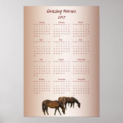 Grazing Brown Horses 2017 Animal Calendar Poster