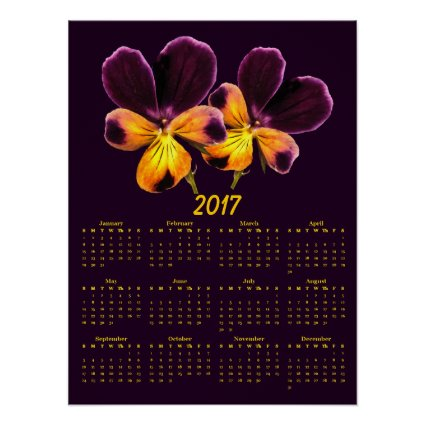 Purple Yellow Pansy Flowers 2017 Calendar Poster