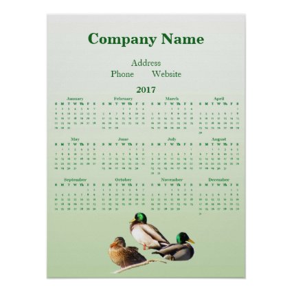 Ducks Business Promotional 2017 Calendar Poster
