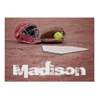 Softball Catcher Custom Poster