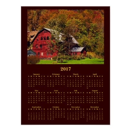 Red Barn in Autumn 2017 Calendar Poster