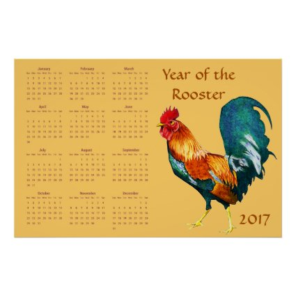 Year of Rooster Bird 2017 Animal Calendar Poster