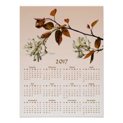 Wild Cherry Blossom Flowers 2017 Calendar Poster