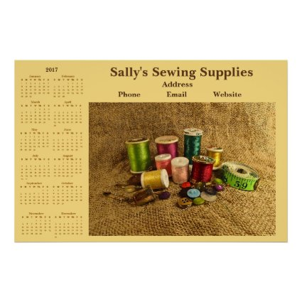 Sewing Promotional Company Business 2017 Calendar Poster