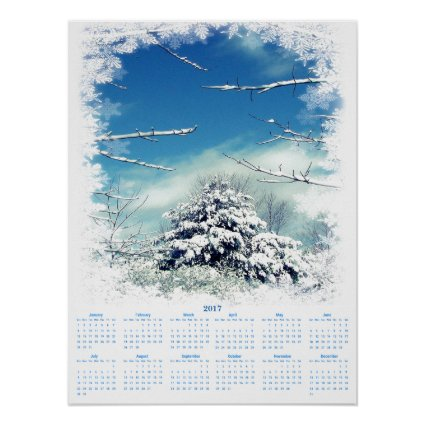 Snowy Winter Tree 2017 Nature Calendar Poster