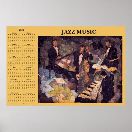 Jazz Music Quartet 2017 Calendar Poster