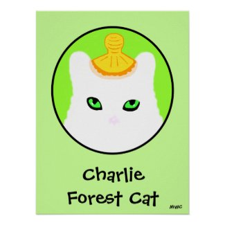 White Forest Cat Charlie Green Eyes Poster